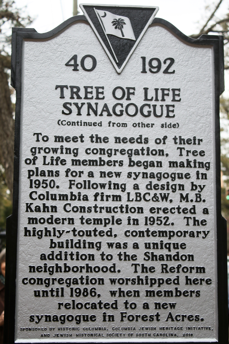 A history of the jewish synagogue the tree of life in the city of columbia