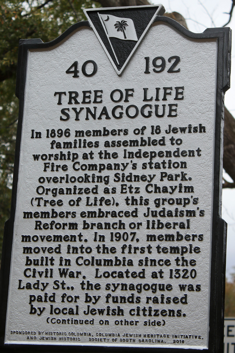 a history of the jewish synagogue the tree of life in the city of columbia Erected by: jewish historical society of south carolina beth shalom synagogue  tree of life temple click here to read article from beth.