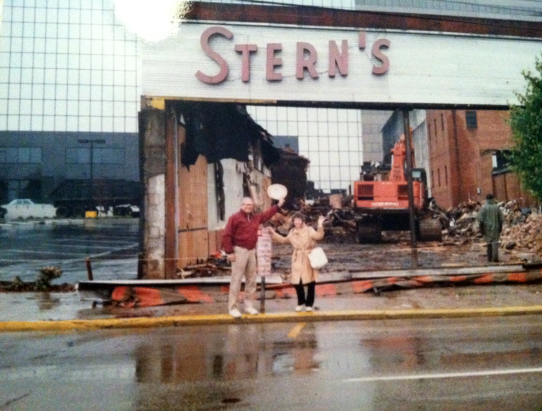 Anne and Ted Solomon in front of store during demolition -ca. 1989